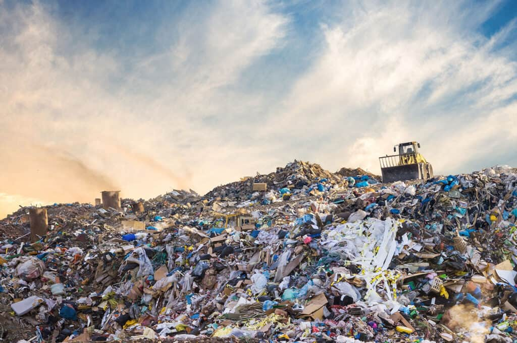 Garbage pile in trash dump
